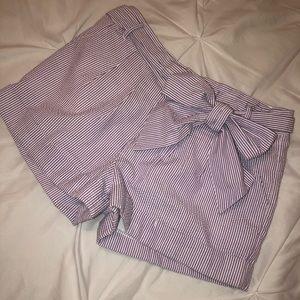 Lauren James Purple Seersucker Bow Shorts